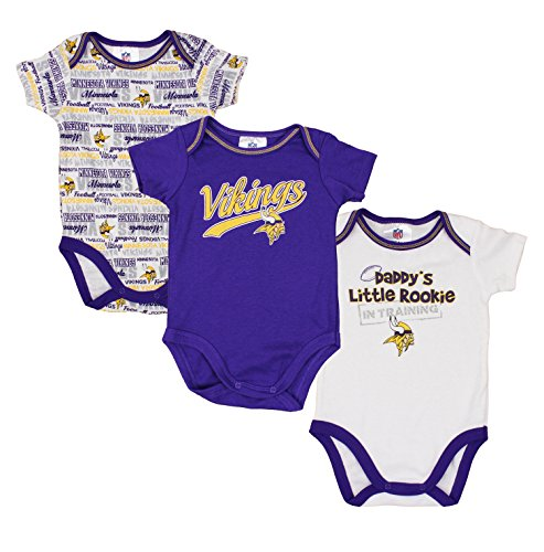 Minnesota Vikings NFL Baby Boys 3 Pack Short Sleeve Bodysuit Set, Purple - White