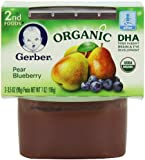 Gerber Organic 2nd Foods, Pear Blueberry, 2 Count, 3.5 Ounce (Pack of 8)