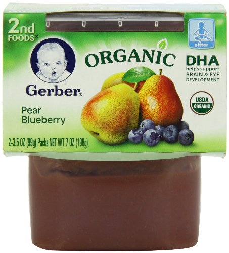 Gerber Organic 2nd Foods, Pear Blueberry, 2 Count, 4.0 Ounce (Pack of 8)