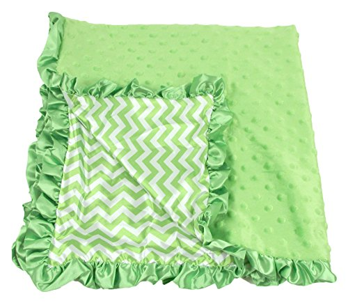 Boy or Girls Unisex Lime Green Chevron Print Minky Baby Blanket