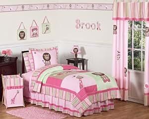 Amazon.com - Pink and Green Girls Jungle Kids Bedding 3pc ...