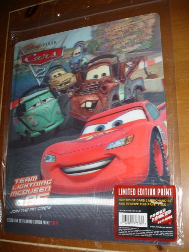 "Disney Pixar Cars 2 Movie Lenticular Limited Edition Print 11"" x 14"" - 1"