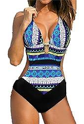 Fourcatz Womens One Piece Cut Out Swimwear Swimsuit