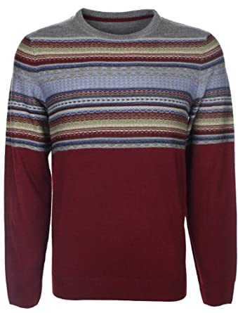 Tokyo Laundry Mens Topper Striped Jacquard Knitted Sweater Jumper Oxblood Red Size XL