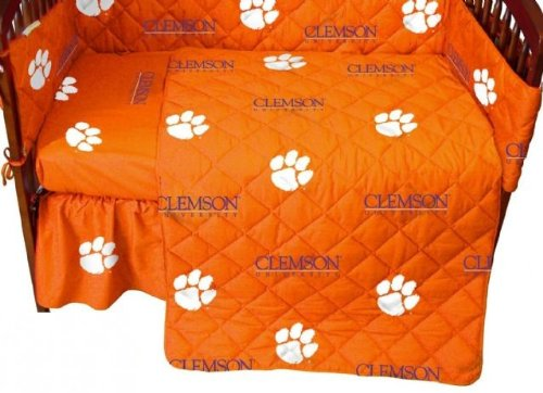 Clemson Baby Crib Fitted Sheet - White - Clemson Tigers front-1001351