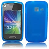 Gel Case Cover Skin And LCD Screen Protector For Samsung Galaxy Wave Y S5380 / Dark Blue