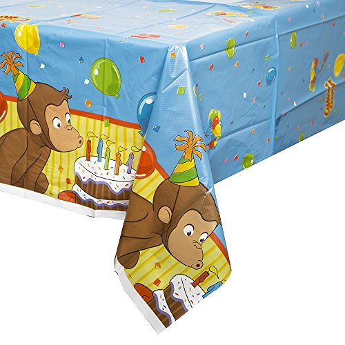 "Curious George Plastic Tablecloth, 84"" x 54"""