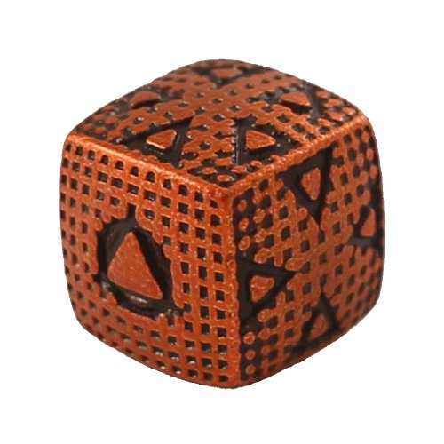 1 (One) Single IronDie: Solid Metal Italian Dice - Orange Smasher (Die-Cast Designer Six-Sided Die / d6)