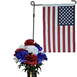 Red White and Blue Carnation with Flag Stand Silk Flower Bouquet (SM1465) Sale