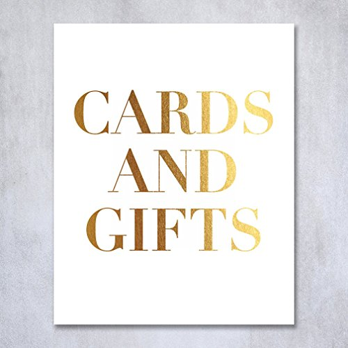Cards and Gifts Gold Foil Sign Wedding Reception Party Signage Art Print Modern Poster Decor 8 inches x 10 inches E17