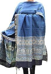 Indo Mood   Exclusive Hand Crafted Cotton Silk Dupatta With Zari Border