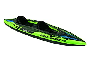 ntex Challenger K2 Kayak, 2-Person Inflatable Kayak Set with Aluminum Oars and High Output Air Pump