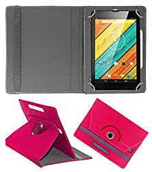 ACM ROTATING 360° LEATHER FLIP CASE FOR DIGIFLIP PRO XT712 TAB TABLET STAND COVER HOLDER DARK PINK