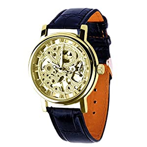 Mens Mechanical Skeleton Watch Hand Wind Up Gold Dial Black Leather Strap MW-06