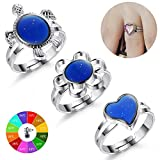 Finrezio Color Changing Mood Ring for Women and Girls Turtle/Flower/Heart Shaped Rings Adjustable Size 3Pcs