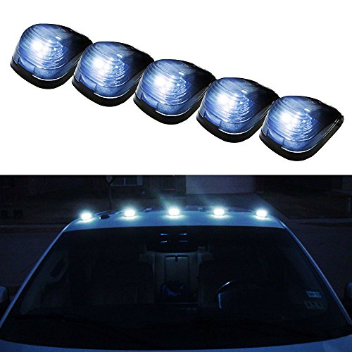 iJDMTOY 5pcs Black Smoked Cab Roof Top Marker Running Lamps w/ Xenon White LED Light Bulbs For Truck Pickup 4x4 SUV (2004 F250 Cab Lights compare prices)