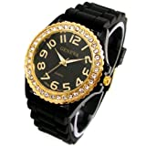 Geneva Black Silicone Ceramic Style Wrist Watch Surrounded with Gold Trim and Sparkly Rhinestones As Similar to Sandra Bullock Watch in Blind Side