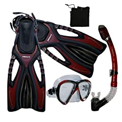 Snorkeling Scuba Diving Snorkel Mask Fins Gear Set, Red, S/M