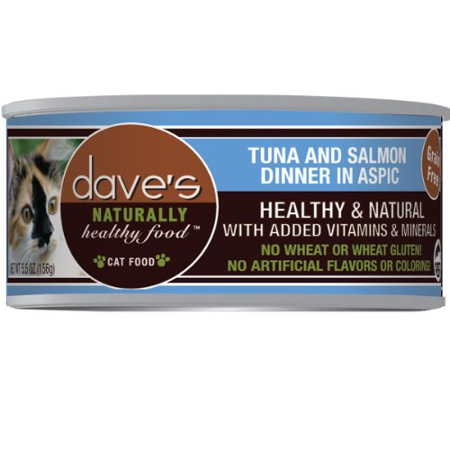 Dave's Naturally Healthy Tuna and Salmon in Aspic for Cats (Pack 24x3oz)