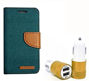 Aart Fancy Wallet Dairy Jeans Flip Case Cover for MotorolaMotoE (Green) + Dual USB Port Car Charger with Smartest & Fastest Technology by Aart Store.