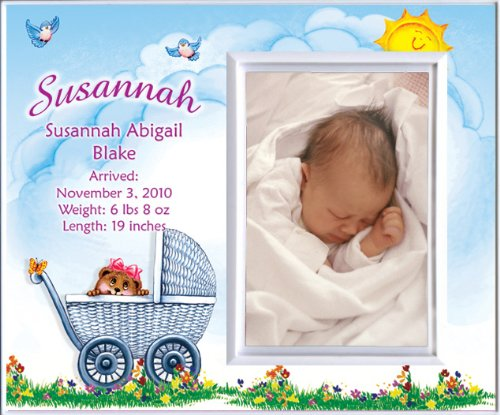 New Baby Girl Personalized Birth Announcement Keepsake Picture Frame Gift - Carriage