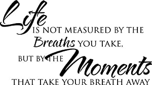 """23""""x13"""" Life is not measured by the breaths you take but by the moments that take your breath away wall art wall sayings"""