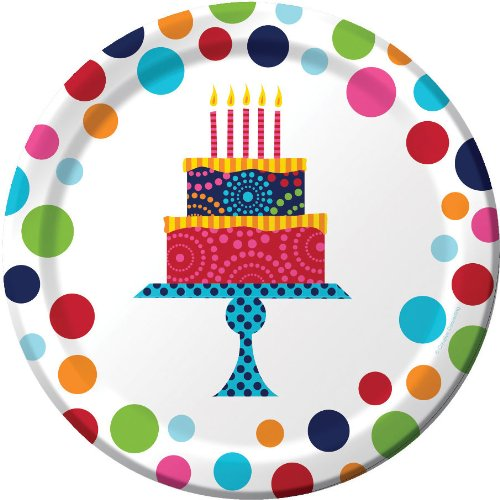 "Creative Converting 8 Count Birthday Cake Stand Sturdy Style Paper Lunch Plates, 7"", Multicolor"