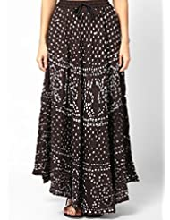 Soundarya Women Cotton Skirts -Black -Free Size