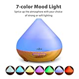 Anjou Aromatherapy Essential Oil Diffuser 300ml, Ultrasonic Aroma Humidifier (Up to 8H Use, Mist Control, Waterless Auto Shut-Off, 4 Timer Settings, 7 Color LED Lights, Wood Grain, BPA-Free)