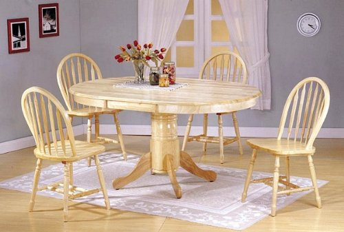 Room Sets For Sale: Cheap 5pc Natural Finish Wood Oval Dining Table