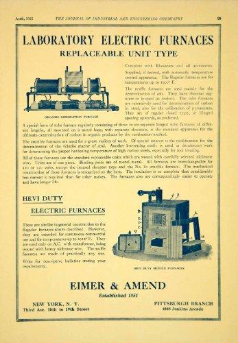 1922 Ad Eimer Amend Science Laboratory Electric Hevi Duty Muffle Furnace Heating - Original Print Ad