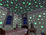 iCooker Glow in the Dark Stars Stickers [150 Stars] - Premium Quality Vinyl Wall Decor Decals Set For Baby Kids Room Bedroom Wall Ceiling - Best Fluorescent Moon & Planets Home Wall Glow Stickers