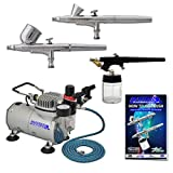Master Airbrush Multi-purpose Professional Airbrushing System with 3 Airbrushes, 6' Air Hose & Airbrush Holder, Training Book (Color: Silver)