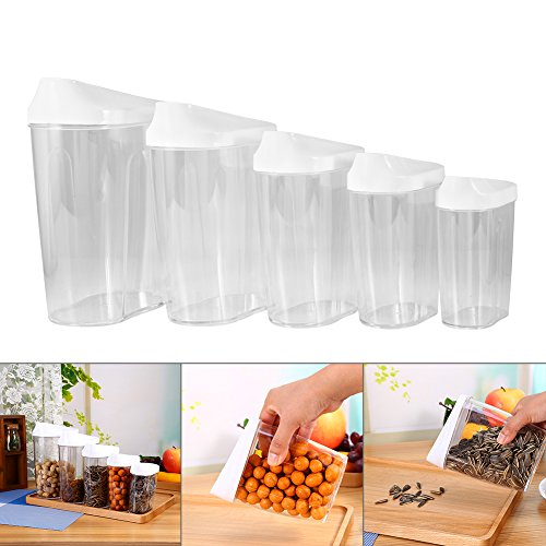 Yosoo 5-Piece Different Size Locking Clear Acrylic Plastic Food Storage Jars Canister Set Ideal for Sugar, Tea, Coffee, Rice, Pasta etc with Airtight Lids (Locking Sugar Container compare prices)
