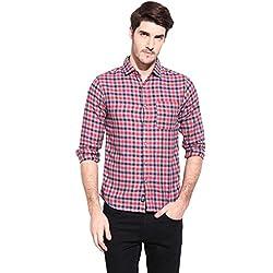 Hueman Red Full Sleeve Cotton Checked Shirt