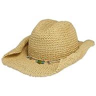 TROPICAL TRENDS Woven Straw Sun Hat W/ Cords & Beads [LT109-ASST], Natural