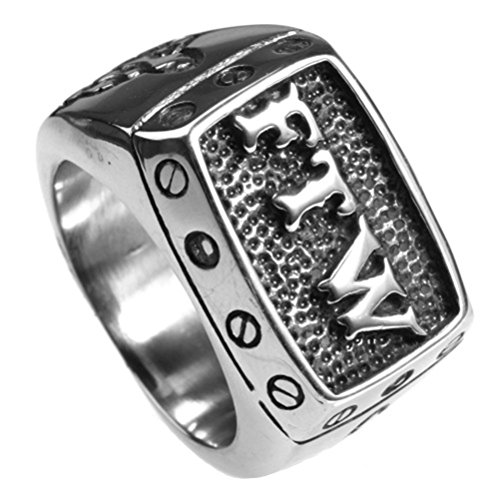Oakky jewelry men 39 s stainless steel punk biker rings with for What metal is best for jewelry