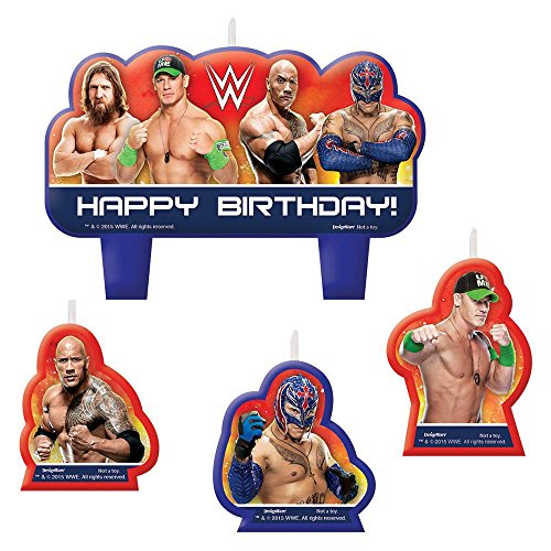 Amscan Grand Slammin' WWE Birthday Party Molded Candle Set Cake Decoration (4 Pack), Assorted Size, Multicolor (Wwe Supplies compare prices)