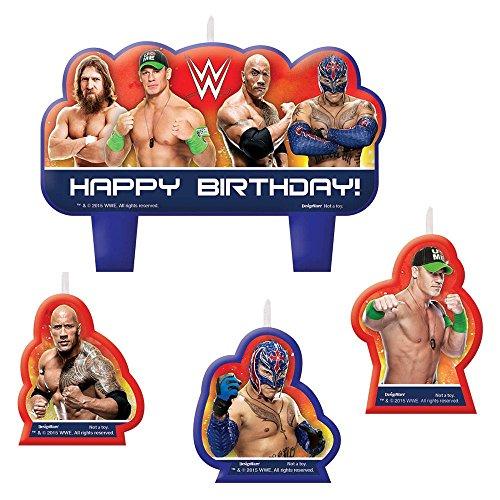 Wrestling 4 teiliges Kerzenset - WWE 4teiliges Geburtstagskerzen Set - Happy Birthday Candles