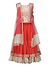 Peaches Girls' Lehenga Choli (L-RGL_Red_6-7 Years)