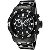 51bNowfg0rL. SL160  Invicta Mens 0076 Pro Diver Collection Chronograph Black Ion Plated Stainless Steel Watch