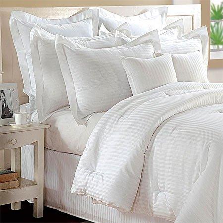 White Woven Stripe Cotton Comforter Set, Queen
