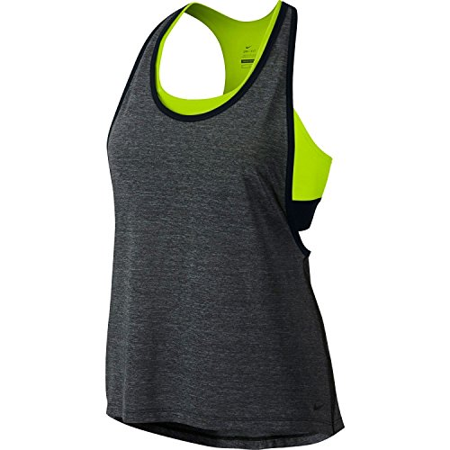 Nike Women's 2-in-1 Pro Inside Loose Tank Top (Black Heather, Medium)