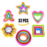 32 Pieces Plastic Cookie Cutter Mold Set, Multi-size Biscuit Cutters, Colors Shapes Sandwich Cutters Cake Cutter Fruit Cutter