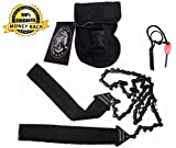 Sportsman Pocket Chain Saw 36 Inches Long With Front Snap Carrying Case and Free Fire Starter. This Longer Professional Hand Saw Tool is Best for Survival Gear - Camping - Gardening - Backpacking - Bug Out Bag - Emergency Kit or any Outdoors-man. This Chainsaw Easily Replaces a Tree Pruner or Pole Saw- Full Lifetime Guarantee!