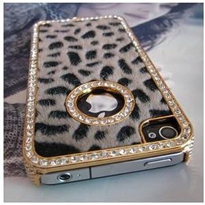 SODIAL- Luxury Designer Bling Crystal Leopard Cheetah Fur Hard Case Cover for Apple IPhone 4 4S