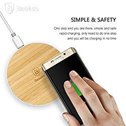 Wireless charger, Baseus Qi Wireless ultra slim Bamboo Charging Pad Galaxy S7 /S7 Edge with LED indicator Reliable Inductive Charge Wood color Round