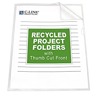 C-Line Recycled Project Folders with Thumb Cut Fronts, Reduced Glare, Letter Size, Clear, 25 per Box (62127)