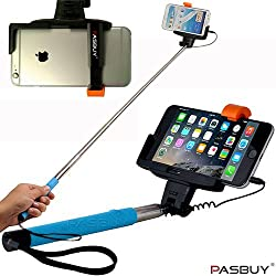 PASBUY® (Blue) Selfie Handheld Wired Monopod Stick Holder Cable Take Pole For Appple iPhone Samsung Galaxy All Android Phones