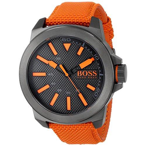 Hugo Boss HB-1513010 50mm Stainless Steel Case Orange Nylon Mineral Men's Watch